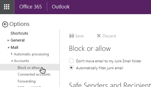How to whitelist an email address in Outlook Office365